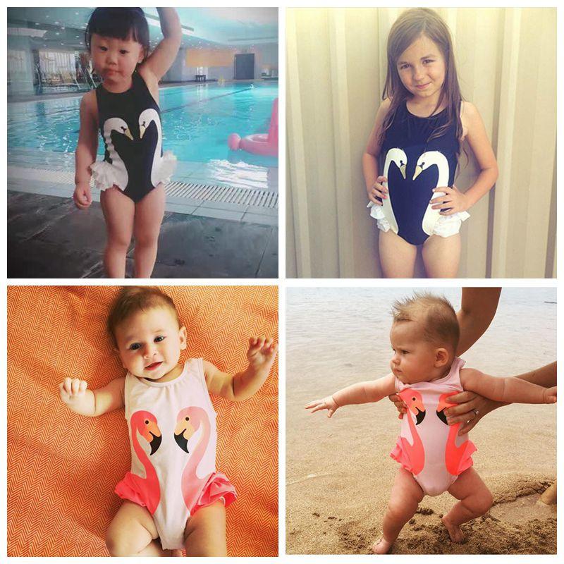 ONES Toddler Baby Kid Girls Sleeveless Swan Piece Bikini Beach Bathing Suit Monokini