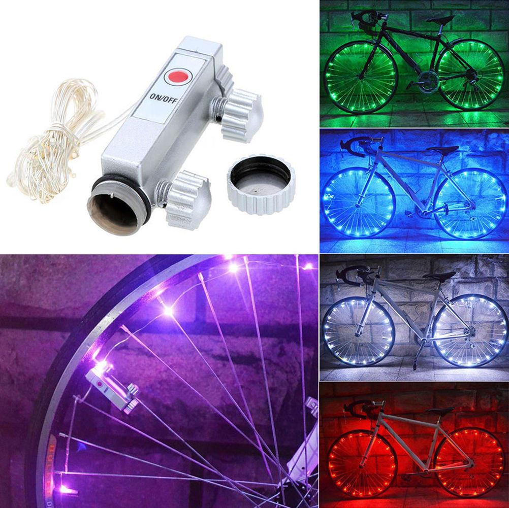 Bike Bicycle Cycling Rim Lights LED Wheel Spoke Light Flashing String Strip Lamp