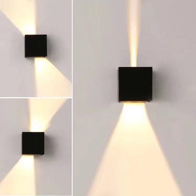 Lightsjoy 6W LED Apliques dePared Modernos Lamparas de Pared impermeable IP44 con Luz Blanco Fr/ío Universal para Decoraci/ón de Interior y Exterior(Negro)