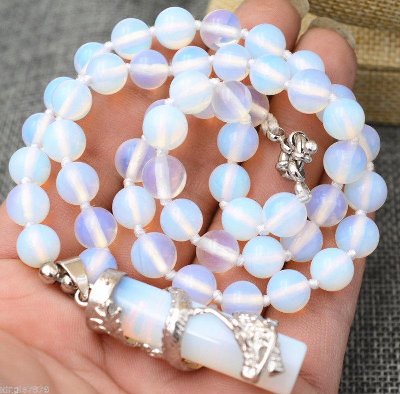 "Hexagonal Gemstone Healing Chakra Reiki Opal Opalite Stone Pendant Necklace 18"""
