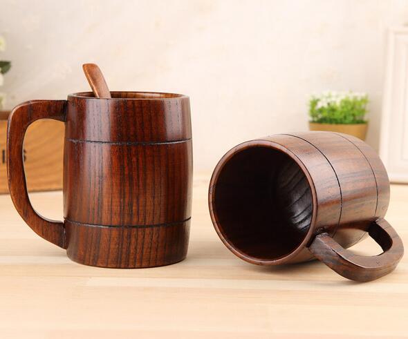 Taza de cerveza de madera taza de cerveza de madera natural Taza de bebida de madera cl/ásica retra grande del agua del t/é con la taza de cerveza del regalo de boda de la jarra de madera de la manija