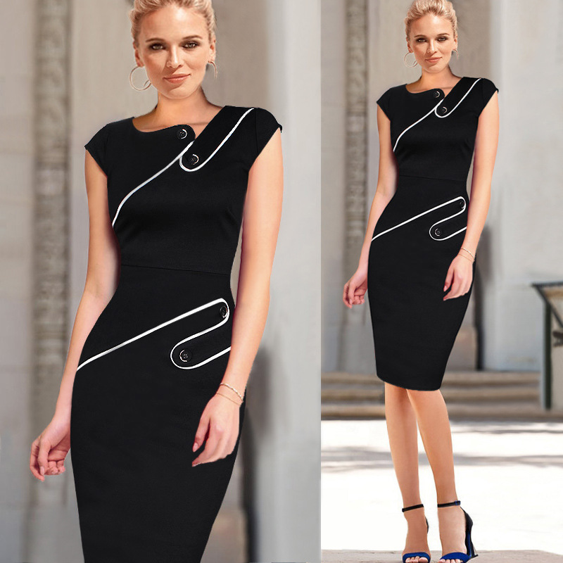 2017 New Casual Women Colorblock Contrast Short Sleeve Office Business Career Sheath Pencil Bodycon Stretch Patchwork Summer Dres Size S-2XL