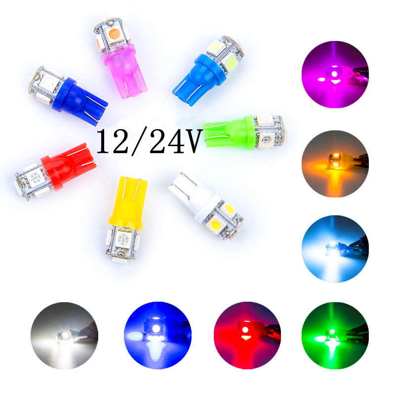 50x Red T10 W5W 2825 168 192 5SMD LED Wedge Car Side Tail Plate Light bulb 12V