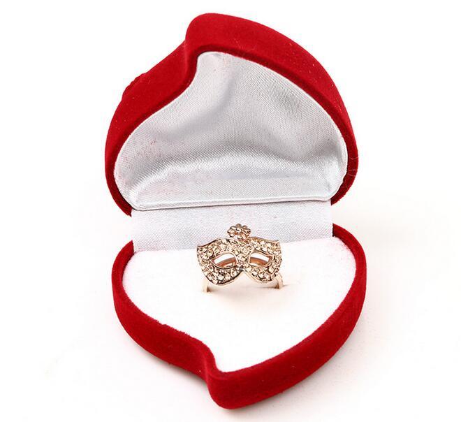 Nuevo Terciopelo Rojo Jewelry Store Estilo Corazón Anillo Caja De Regalo Compromiso Boda Amor