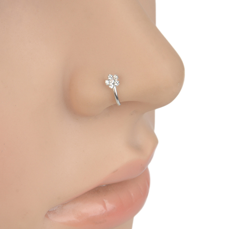 925 STERLING SILVER 3PC GIFT SET CLEAR CRYSTAL FLOWER BONE NOSE PIERCING STUDS