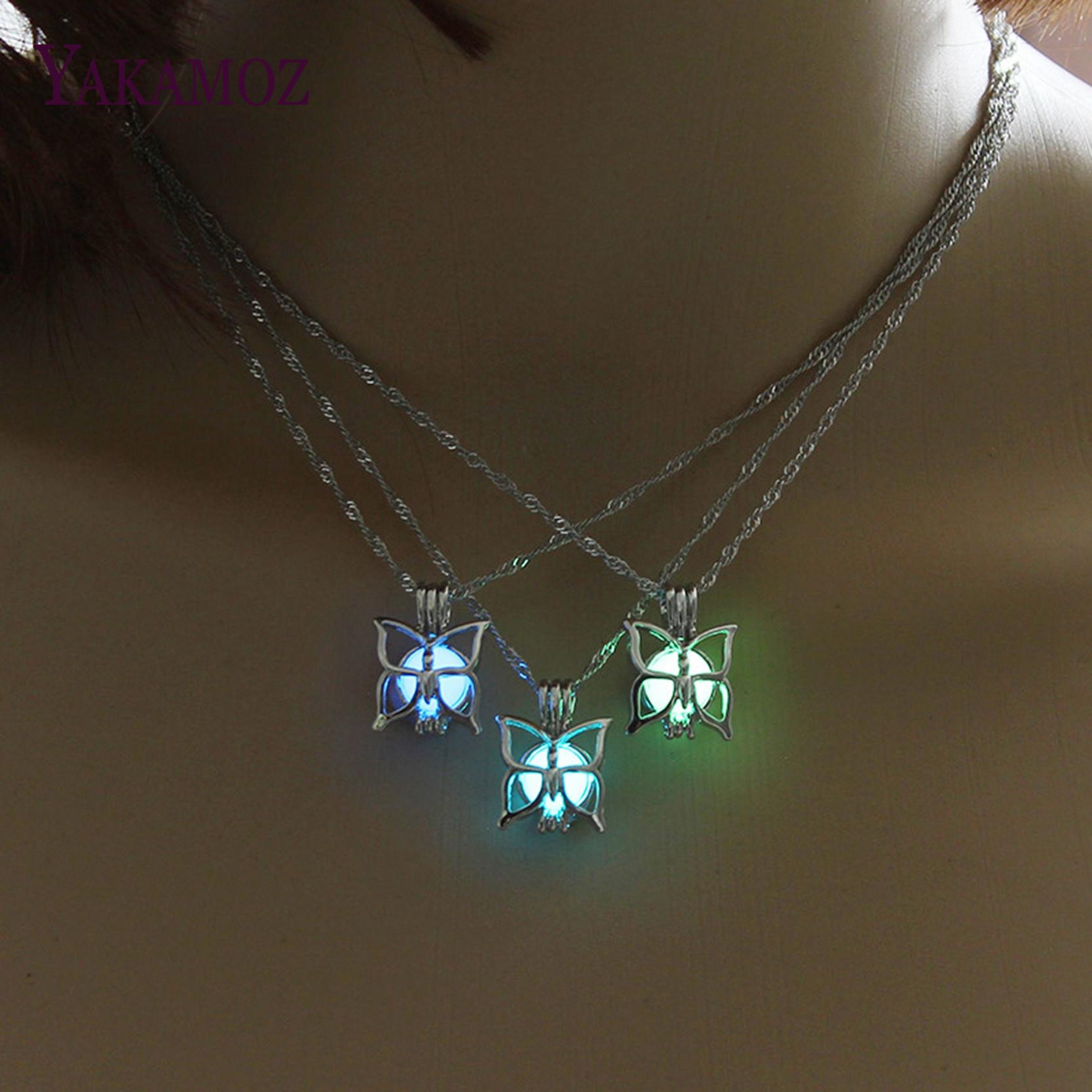 VINTAGE GLOW in the Dark Moon Coeur Charme Collier Pendentif Lumineux Bijoux Cadeau
