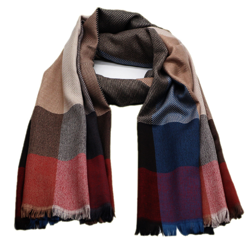 Winter Men Scarf Cashmere Like Acrylic Jacquard Tassel Cozy Thick Scarf