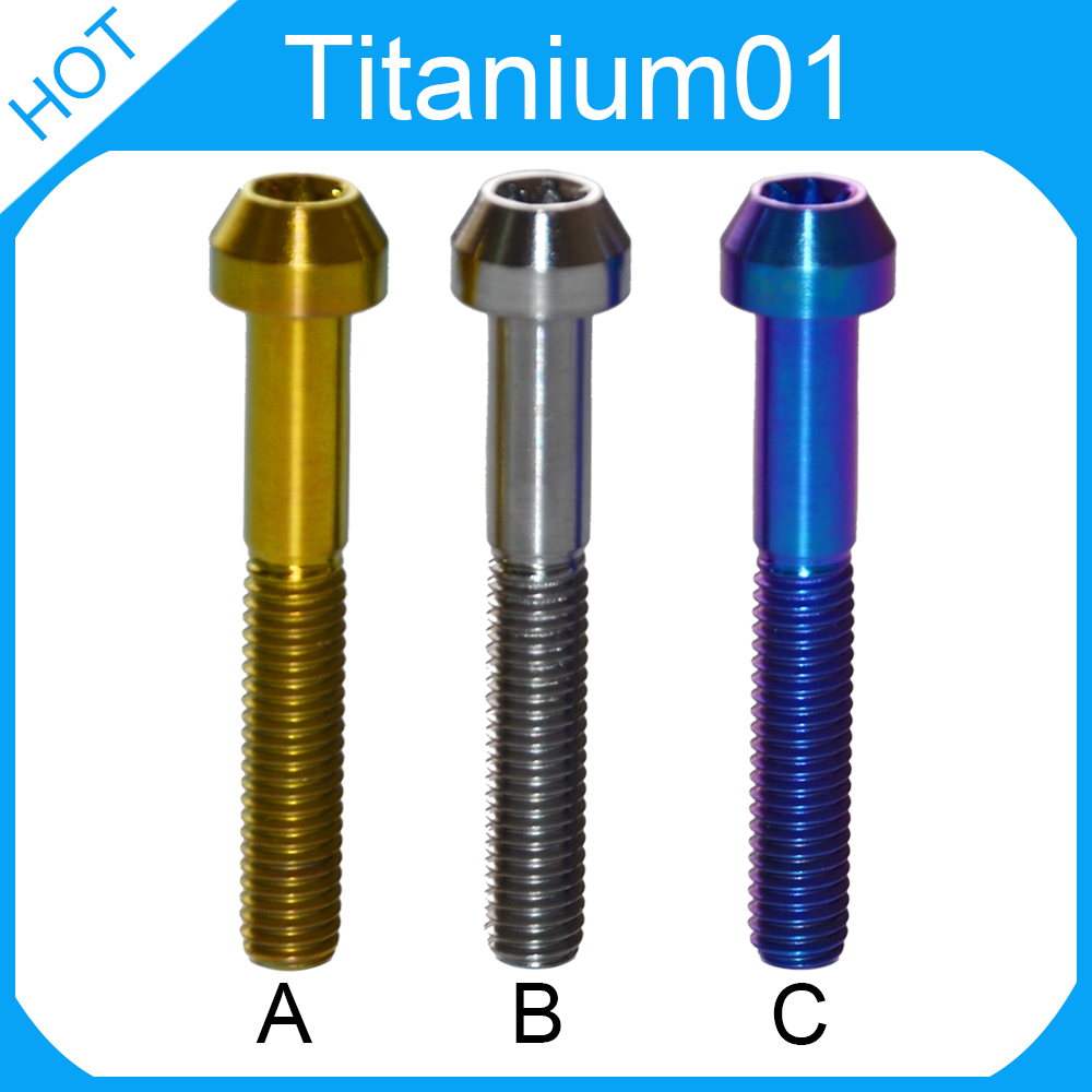 6pcs M6 Allen screw Titanium plating bolt hex socket countersunk screws bolts