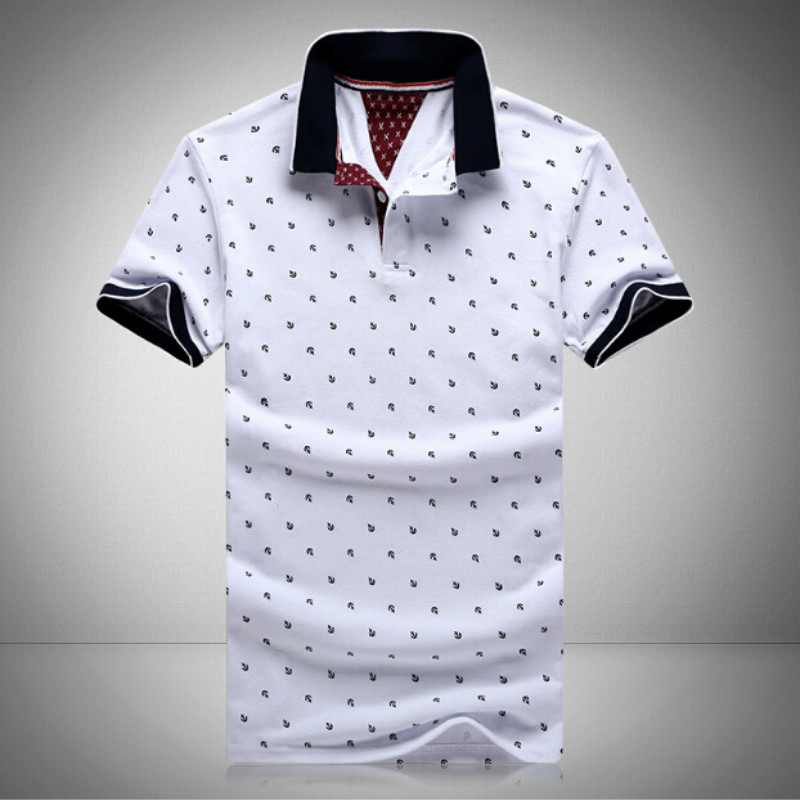 Gomis Polo Mens Printed Polo Shirts Cotton Short Sleeve Polo Casual Stand Collar Polo Shirt for Male