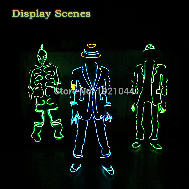 2017 New EL wire Suits Fashion LED Clothes Luminous Costumes ...