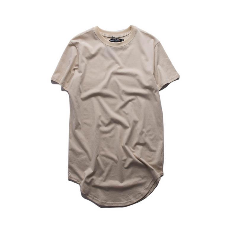 00e3a4522 Cotton Extended T Shirt Men Curved Hem Longline T-Shirts Kanye Streetwear  Oversize Mens Fashion Tshirt Hip Hop ...