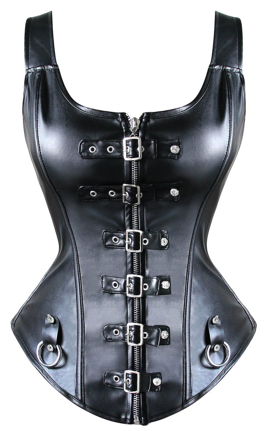 Gothic Leatherette Spiked Mistress Costume high Collar Punk corset body harness