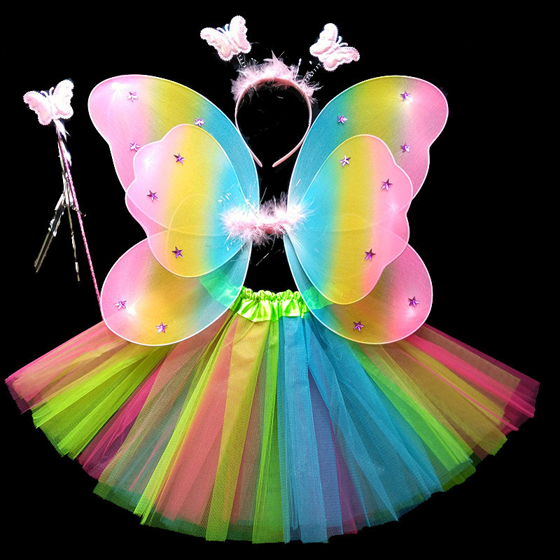 Coshome Children Butterfly Cosplay Princess Costumes Baby Boys Girls Kids Stage Performance Wings+Skirt+Headdress+Wands 4pcsSet (2)
