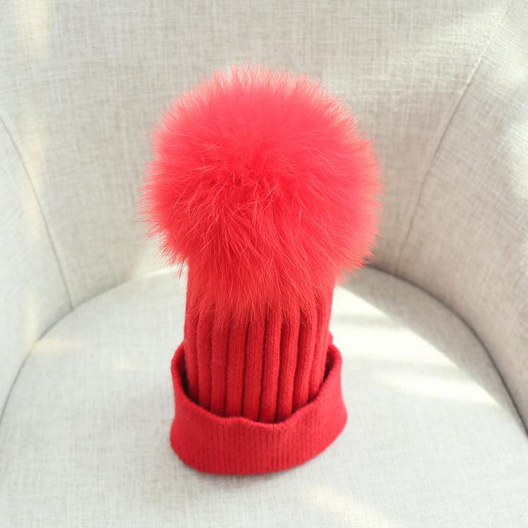 pom poms wool rabbit fur knitted hat Skullies winter hat for women girls hat feminino beanies hat (8)