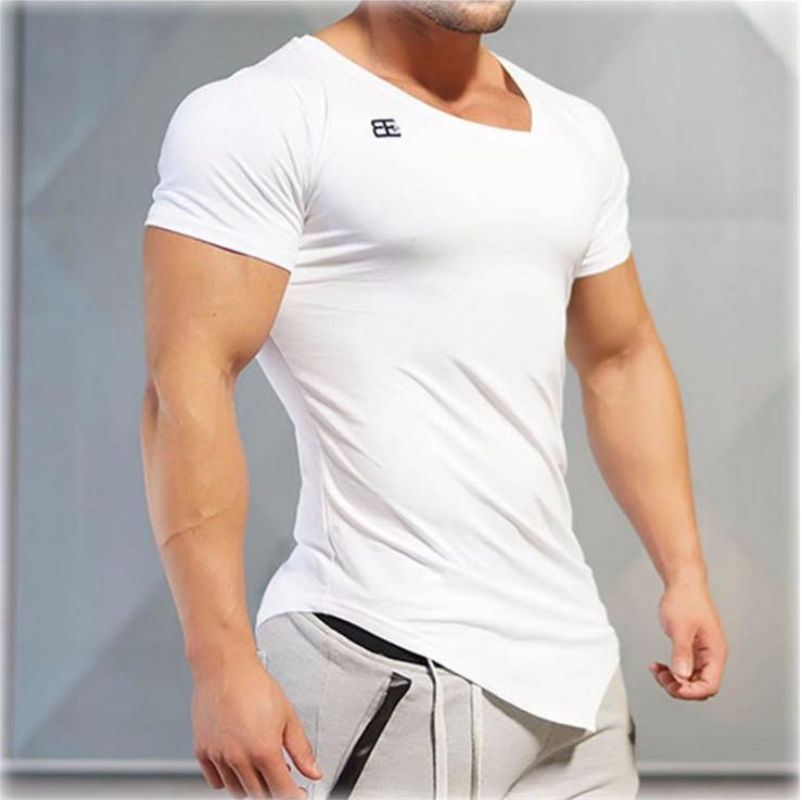 Men Sport Fitness Basic Tee Bodybuilding Baggy Blouse Tops Irregular Gym T Shirt