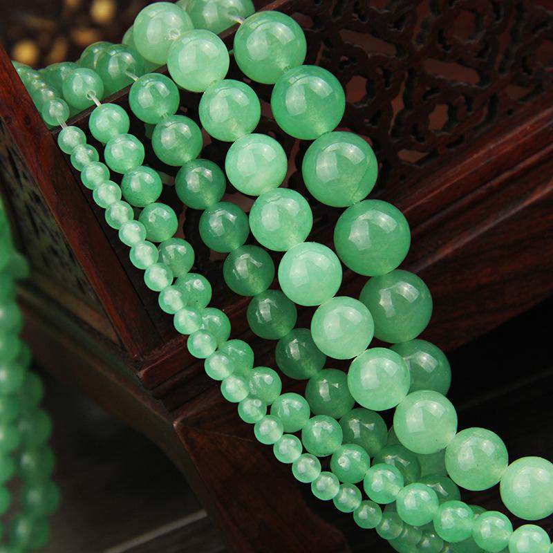"""6 mm 8 mm 10 mm 12 mm véritable vert clair jade perles rondes Bracelet 7.5/"""""""