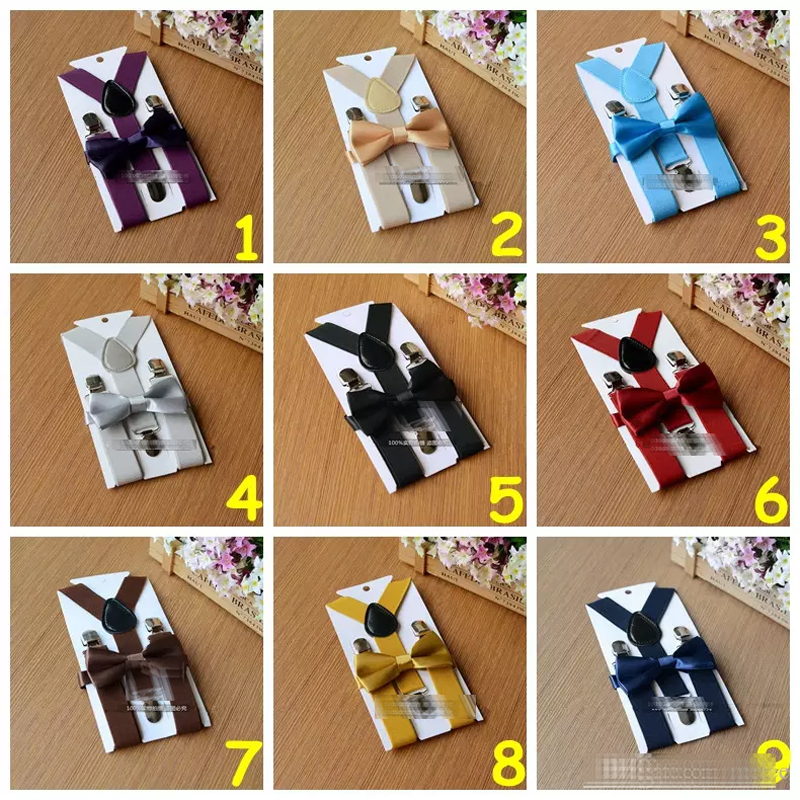 Kinder jungen Kind Solid Krawatte Y-Rücken elastische Hosenträger Brace Set