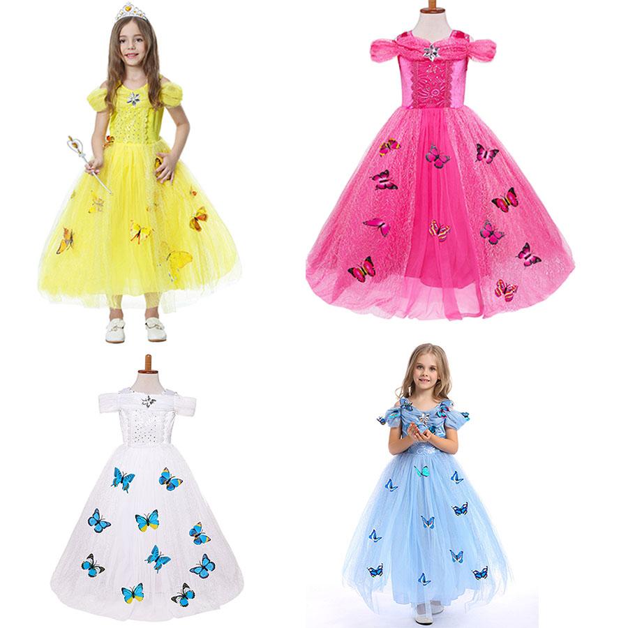 Blu Dress Tutu Farfalla per Bambini Bambino nuovo partito senza maniche bambina OUTFIT