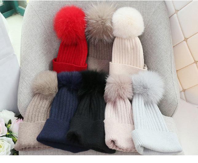 pom poms wool rabbit fur knitted hat Skullies winter hat for women girls hat feminino beanies hat (2)