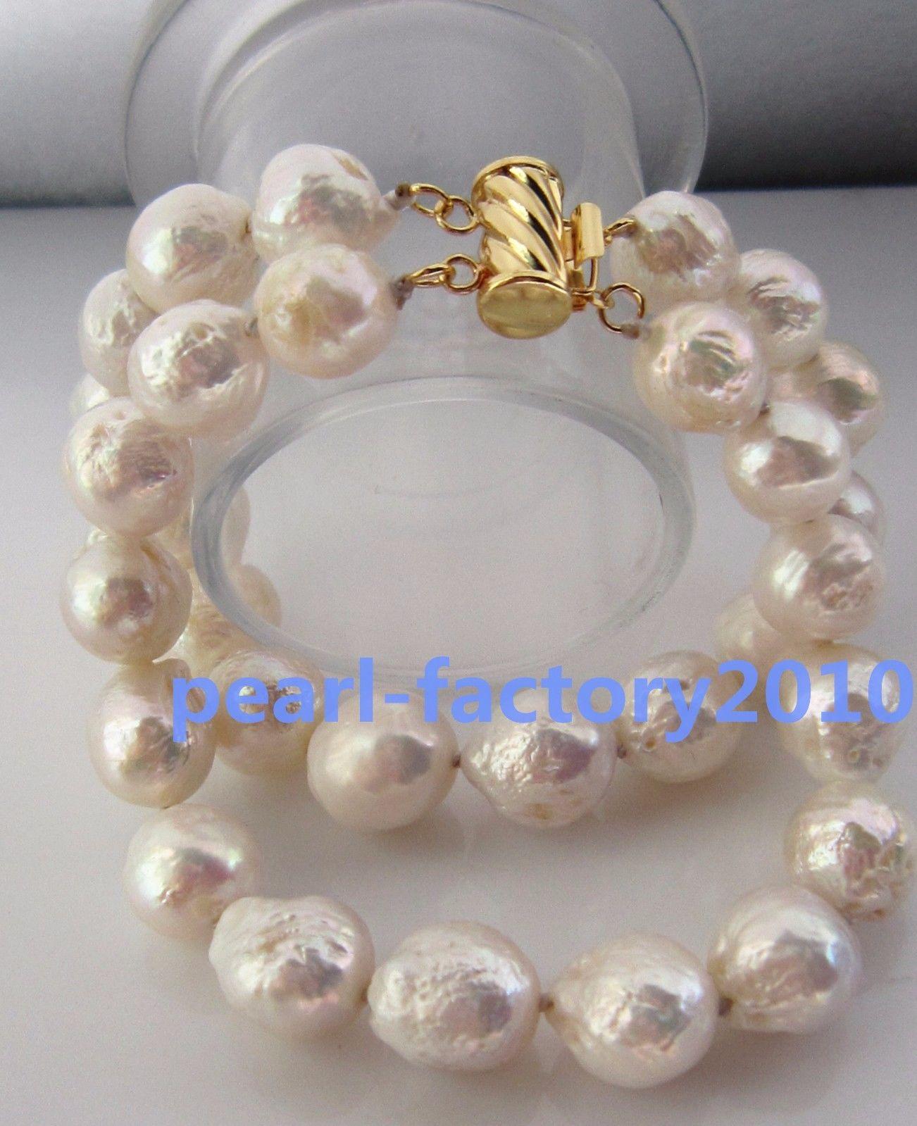 "Énorme AAA 12-13 mm South Sea Blanc Perle Baroque Bracelet 7.5-8/"" Or 14K Fermoir"