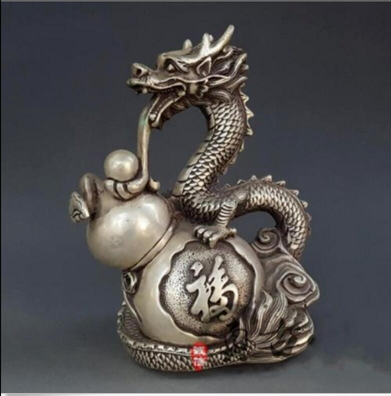 "11/"" Chinese Miao silver handmade auspicious dragon town curtilage statue"