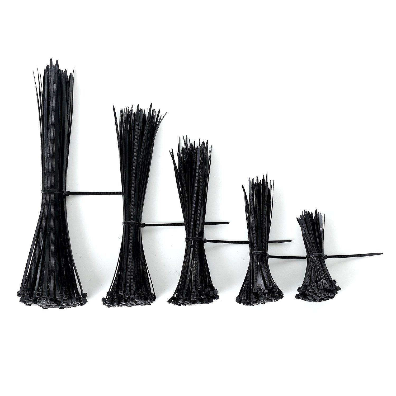 Self-locking Nylon Cable Ties Zip Ties Fasten Assorted Plastic Zip Wire Tie-Wrap Strap in Black 4'' 6'' 8'' 10'' 12''