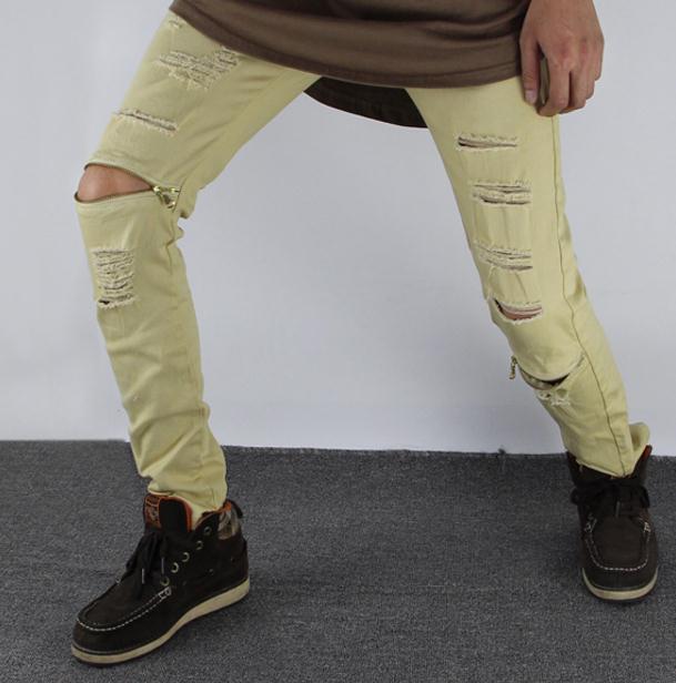 jeans strappati gli uomini skinny Distressed slim marchio famoso designer biker hip hop swag tyga jeans neri bianchi slim kanye
