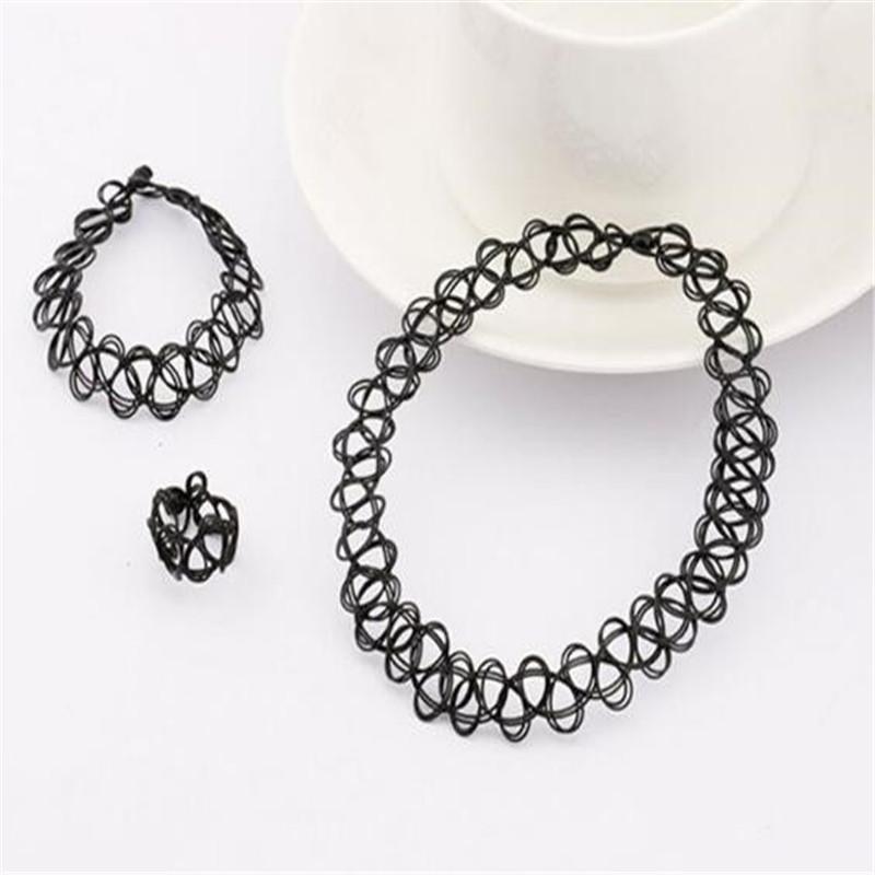 3pcs Retro Vintage Black 90s Tattoo Stretch Choker Necklace Bracelet Ring Set