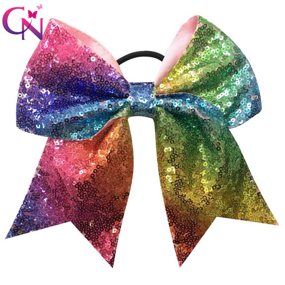 7-Top-Quality-Women-Rainbow-Bows-Boutique-Bling-Sequin-Ribbon-Large-Hair-Bow-With-Elastic-Girls