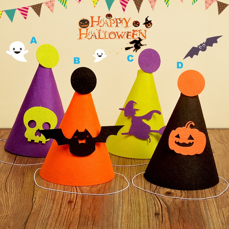 10Pcs//Lot Witch Hat Wooden Hanging Tags DIY Halloween Home Party Decorative New