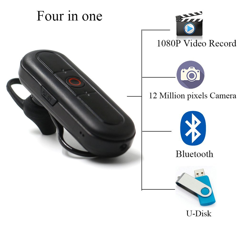 32GB 2 in 1 Wireless Earphone 1080P Mini Video Camera Bluetooth Headset with HD Video Recorder Portable Security Indoor/Outdoor DV Camcorder