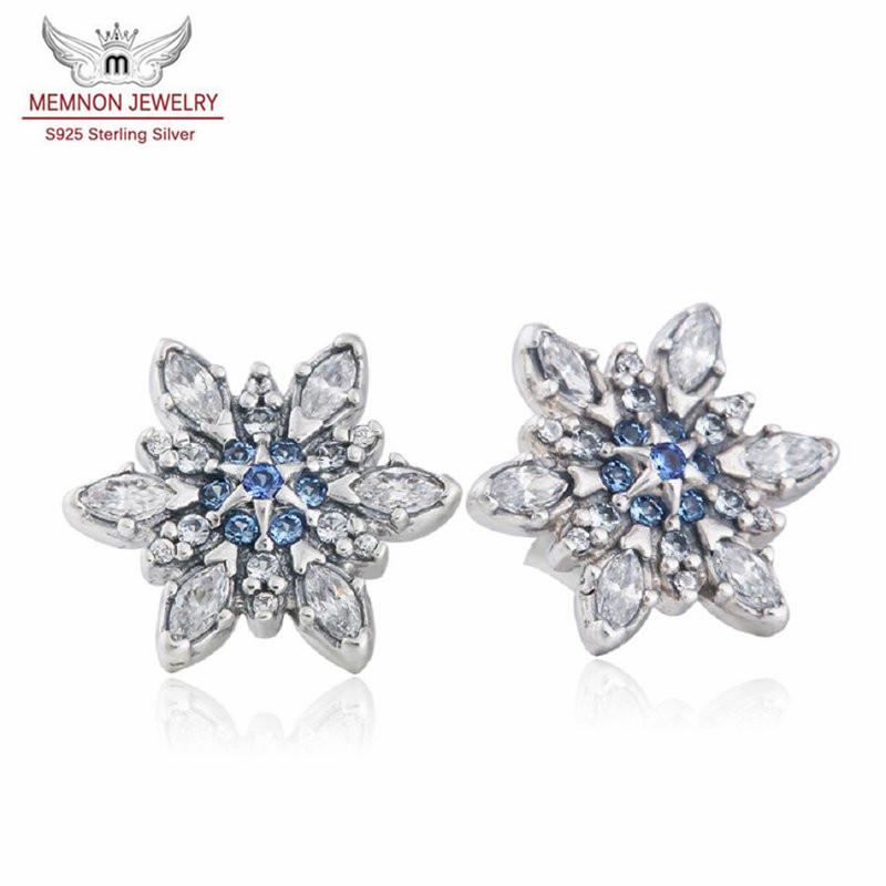 CZ Snowflake Flower Earring Stud 925 Sterling Silver Hypoallergenic Full Cubic Zirconia Crystal Rhinestone Winter Earrings Elegant Fashion Jewelry for Women Girls Christmas with Gift Box