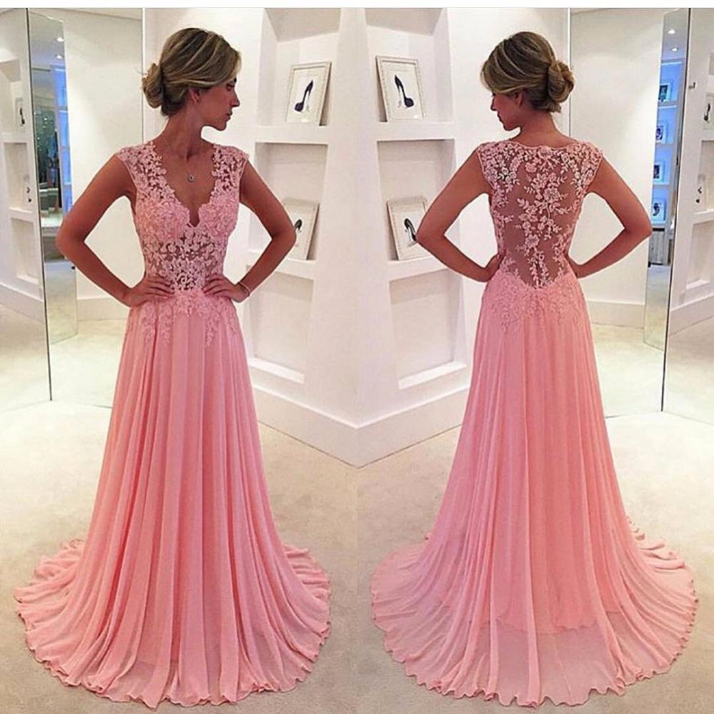 neue maßgeschneiderte günstige lange rosa prom kleider design v-ausschnitt  chiffon illusion spitze lange rote abendkleid abendkleider china