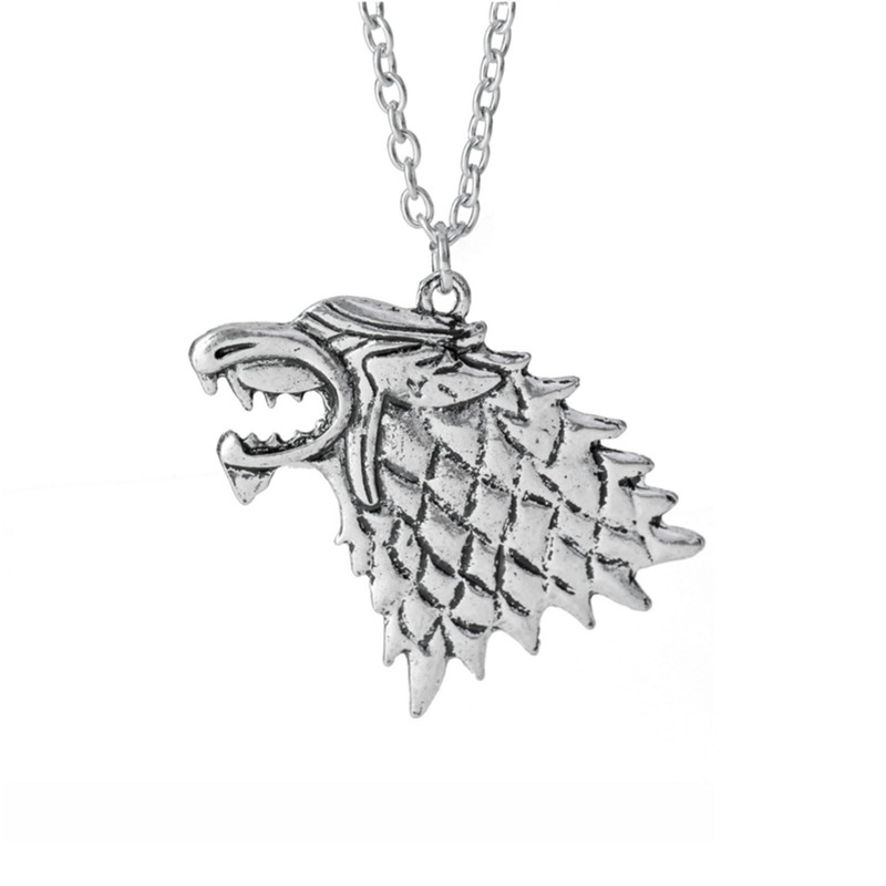 game of thrones wolf silver Pendant Necklace Warriors Movie Jewelry
