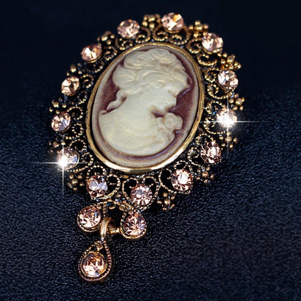camée style victorien en cristal mariage partie femmes pendentif broche