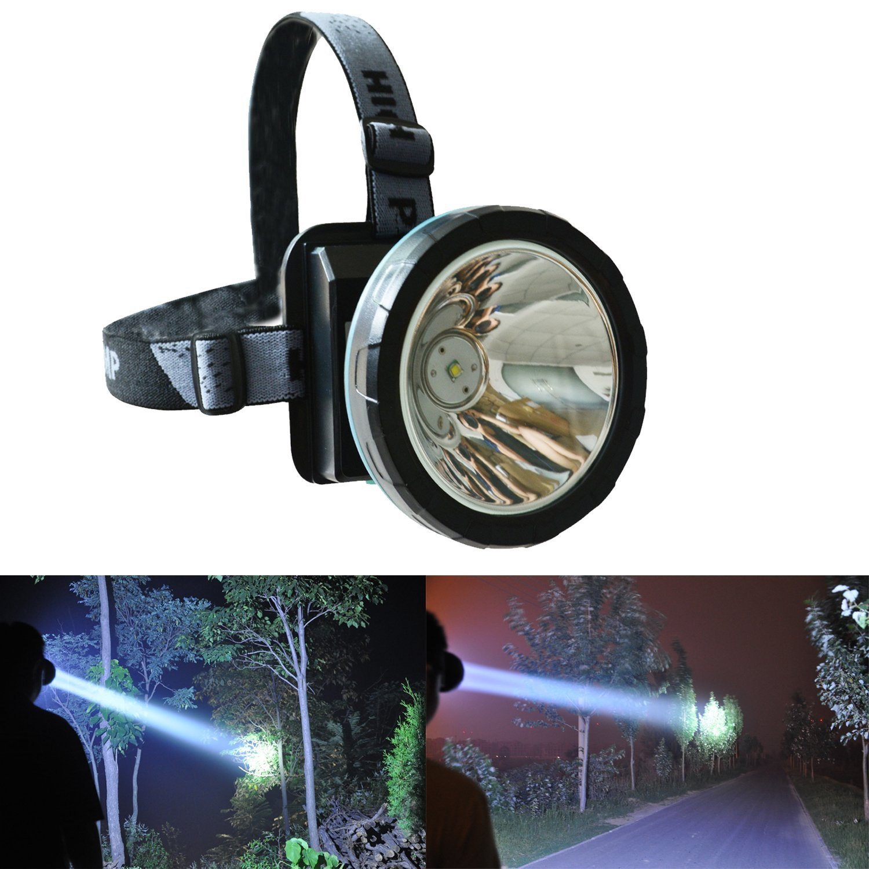 Lithium DEL Light Head Lamp Lampe Minière Miner Camping Randonnée Pêche Sans Fil