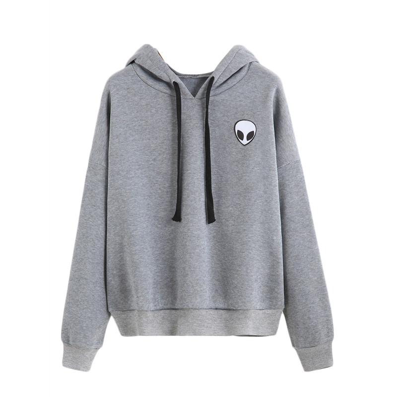 SweatyRocks Womens Hoodie Long Sleeve Drop Shoulder Drawing Pullover Casual Sweatshirt Tops