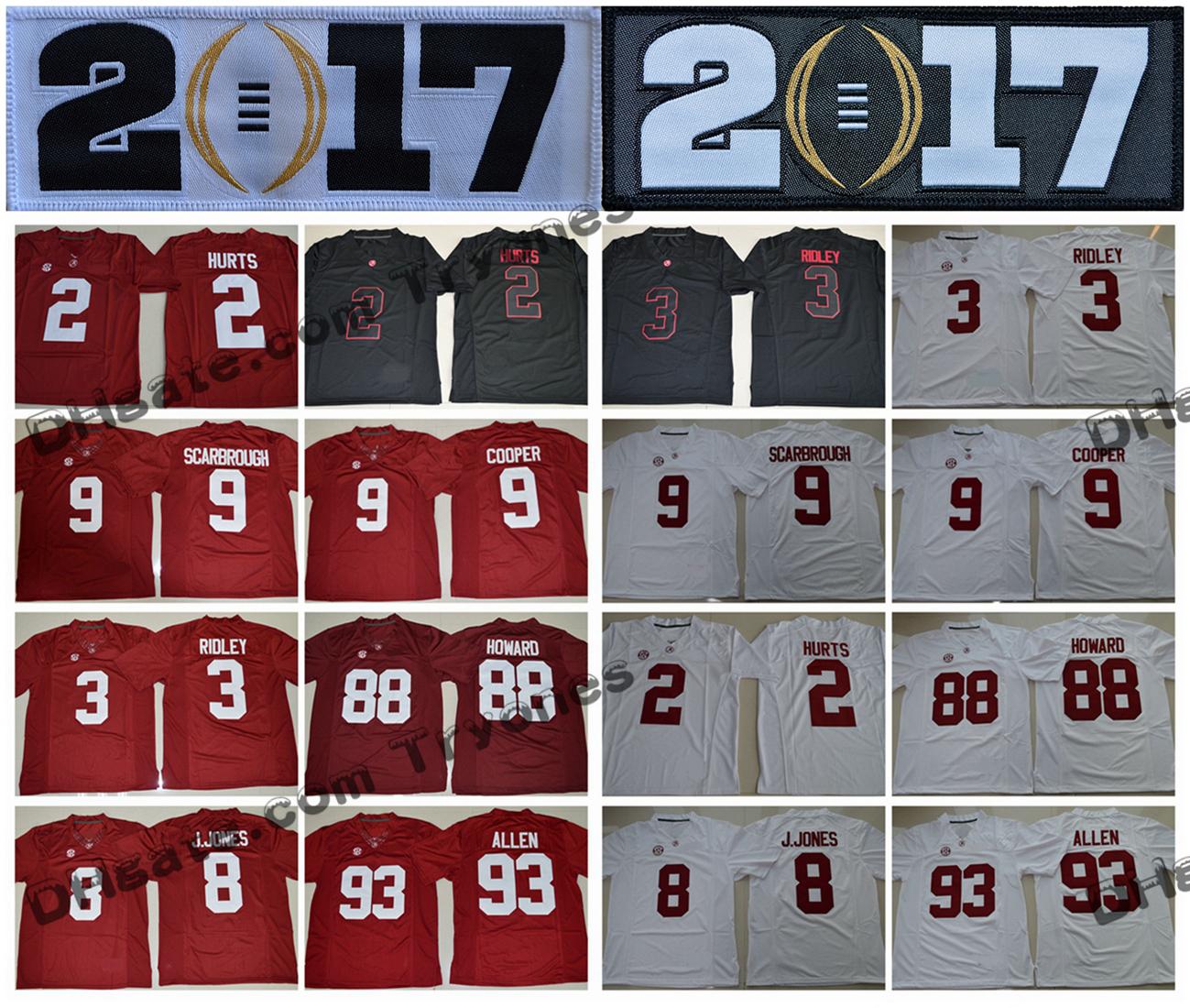 DHgate coupon: 2017 Alabama Crimson Tide 2 Jalen Hurts 3 Ridley Julio Jones Jonathan Allen Amari Cooper 9 Bo Scarbrough OJ Howard College Football Jersey