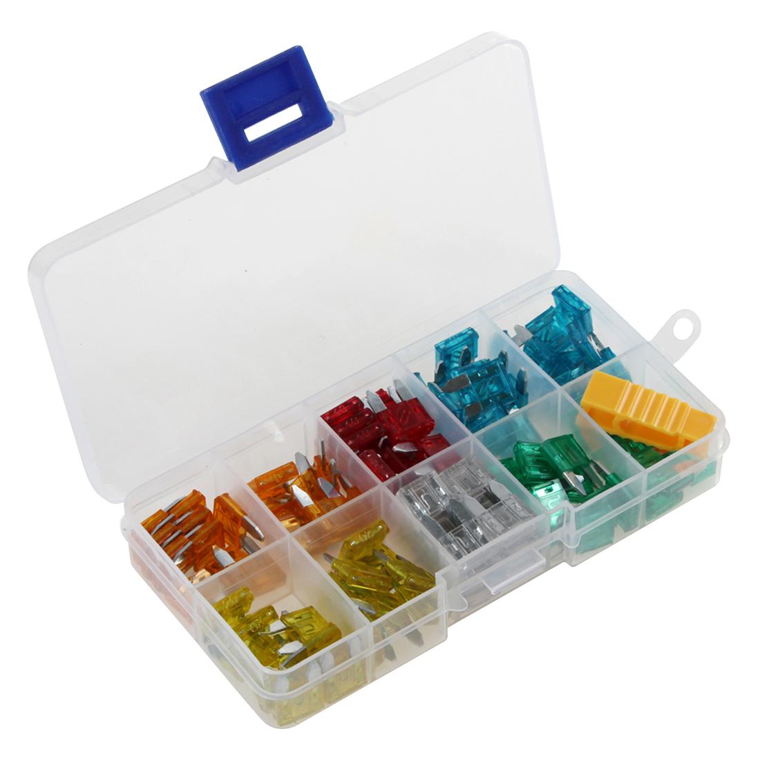 100 PC Kit assortimento di fusibili con lama standard 3,4,5,7,5,10,15,20,25,30,35 Amp Set di fusibili Micro Blade per Auto Camion SUV