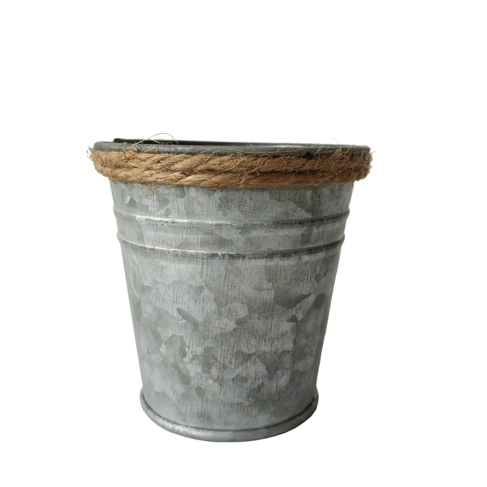 Mercato dei fiori da giardino in metallo latta Piante Fiori Fioriera Vaso Vintage ZINCATO Decor