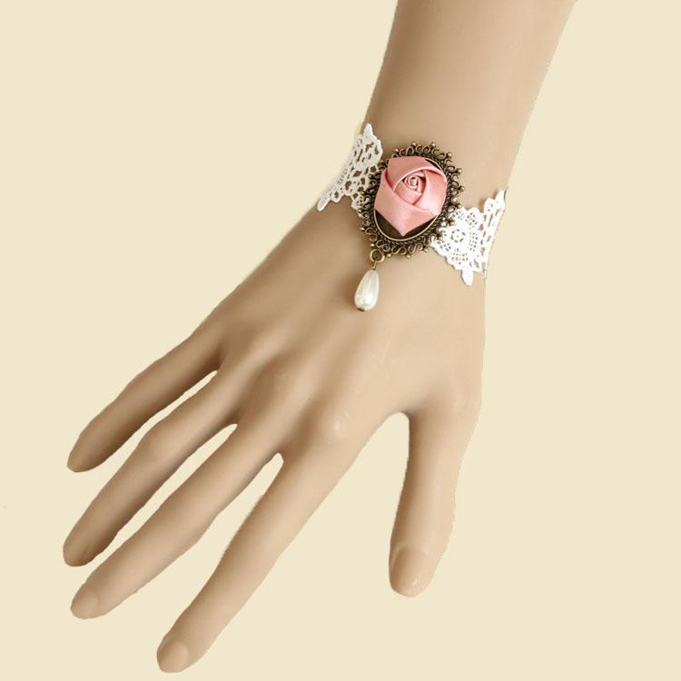 Charme Mariage Perle Noire Femme Gothique Main Dentelle Rose Bracelet Bague Bijoux