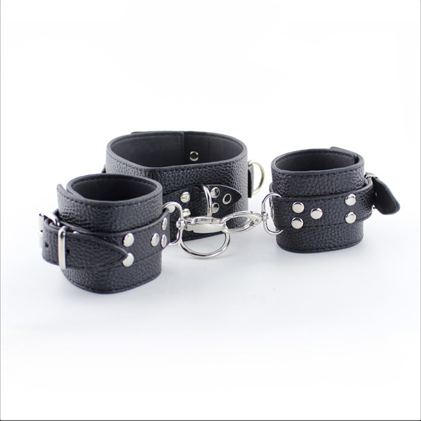 Black Slave Collar Sex Hand Cuffs PU Leather Handcuffs Set BDSM Toys Bondage Suit SM Fetish For Woman Adult Toy For Couples