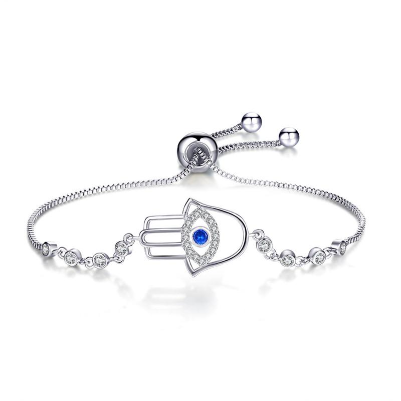 Argent sterling Zircone cubique /& bleu émail oeil maléfique réglable bracelet
