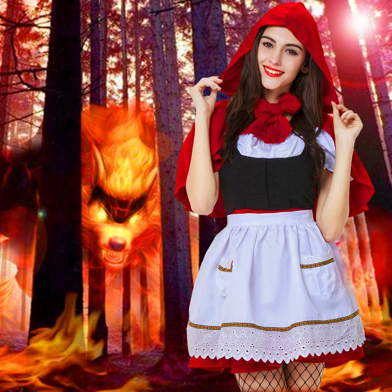 Halloween Costumes Set Dress Autumn Short Sleeve O-neck Cute Red Little Red Hat Apparel Cosplay Party Club Costume