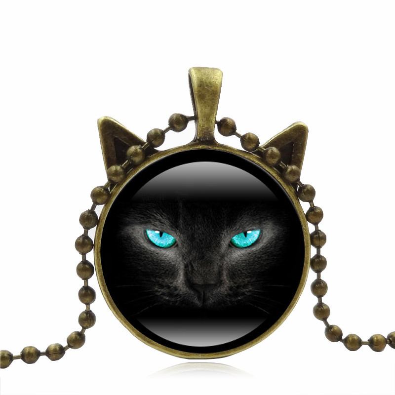 Cat Face Time Gemstone Necklace Cat Ear Pendant Sweater Chain Necklace HC