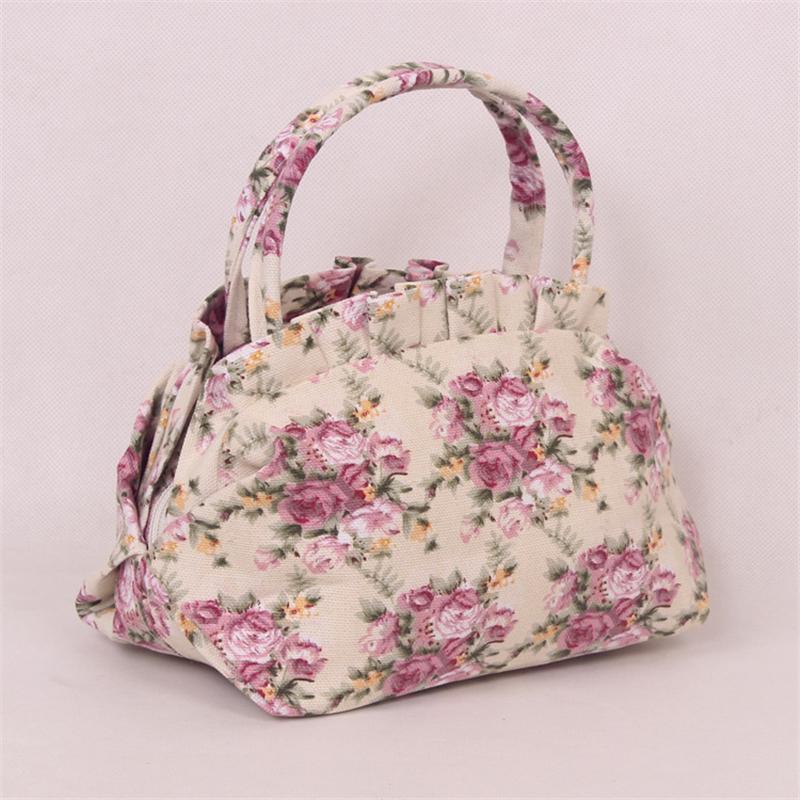 Designer Handbags Totes Bags Women Canvas Shells Cute Ladies Flowers Small Hand Bag Travel Luggage Bag Ladies Simple Fashion Clutch