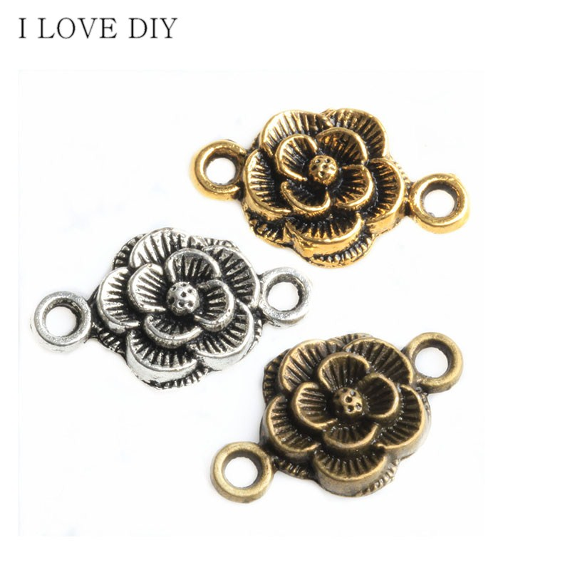 30Pcs Antique Bronze Pendant Charms Connector For Jewelry Making 12x22mm