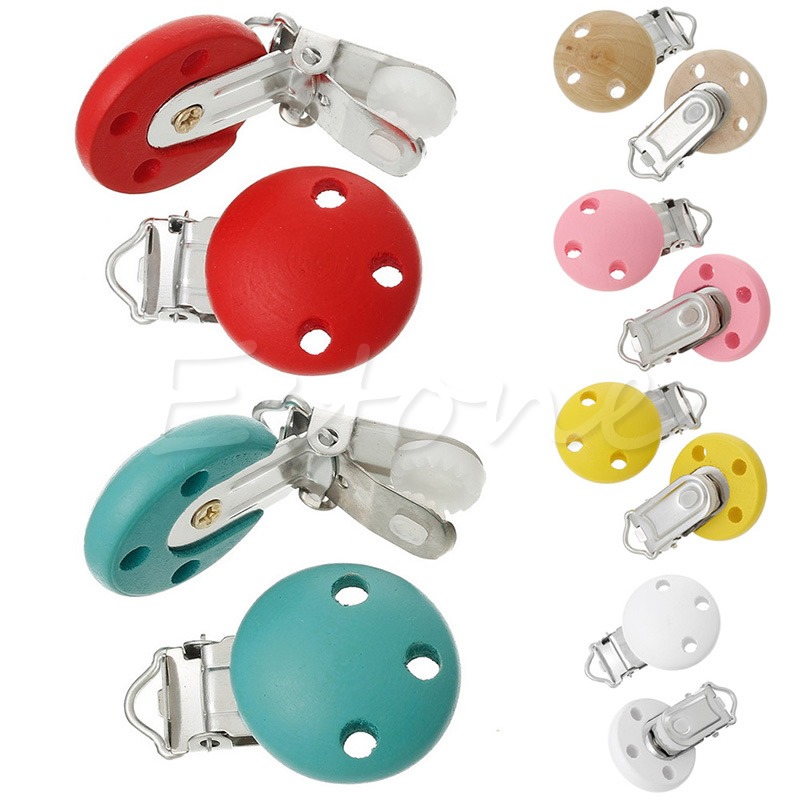 15pcs Round Holes Wooden Dummy Pacifier Clip for Infant Baby Natural