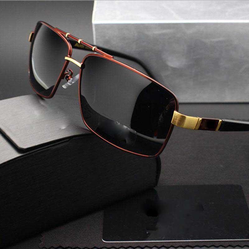 Mens marca óculos de sol com designer de vidro polarizado para a condução de moda de alta qualidade óculos de sol de luxo óculos de cor do filme raios uv400