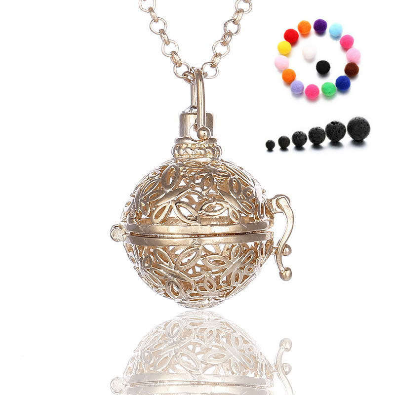 """G-5 Light Gold Round Evil Wing Locket Necklace Aromatherapy Steel 16/"""""""